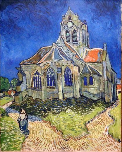 וינסנט ואן גוך - הכנסיה באוּוֶרס-על-אויס צופָה על סביבותיה